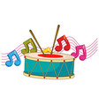 drum and music notes in background vector image vector image