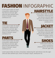 fashion infographic with happy schoolboy vector image vector image