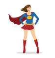 female superhero standing with cape waving vector image