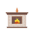 fireplace with vase standing on top isolated icon vector image vector image
