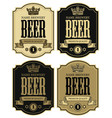 four labels for beer with crown in retro style vector image vector image