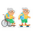granny wheelchair sports healthy active lifestyle vector image vector image