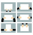 Hand and clean sheet blank billboard set Business vector image