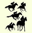 horse riding jockey silhouette vector image
