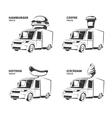 ice cream hamburger hot dog coffee trucks vector image vector image