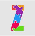 jigsaw color shape puzzle piece letter - z vector image vector image