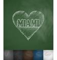 MIAMI in heart icon Hand drawn vector image vector image