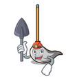 miner mop mascot cartoon style vector image