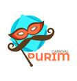 purim carnival isolated icon mask and mustache vector image vector image