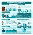 Sedentary Infographics Set vector image vector image