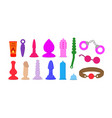 set of colored sex-toys vibrator handcuffs penis vector image