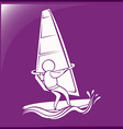 Sport icon for windsurfing on purple background vector image vector image