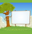 spring tree holding blank billboard vector image