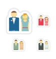 stylish concept paper sticker bride and groom vector image vector image