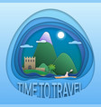 time to travel emblem design ancient fortress vector image vector image