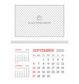 wall calendar planner template for september 2020 vector image vector image