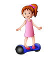 young girl riding a electric scooter vector image