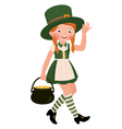 Girl dressed as Saint Patrick Day vector image