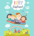 happy kids flying on a swing vector image