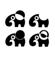 set of four elephant isolated vector image