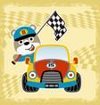 animal racer on race car with finish flag cartoon
