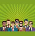business teamwork pop art cartoon vector image