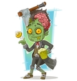 Cartoon pretty zombie with beer and axe vector image vector image