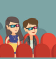 caucasian women watching 3d movie in the theatre vector image vector image