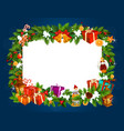 christmas and new year gifts frame vector image vector image