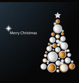 christmas card with abstract golden white tree vector image