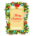 christmas gifts xmas tree snowman on old scroll vector image vector image