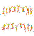 colorful floral patterned silhouettes of jumping vector image vector image