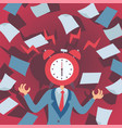 concept stress at work man with alarm clock vector image