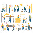 construction and working plan workers set vector image