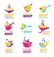 cook soup collection of bowl full of tasty soup vector image vector image