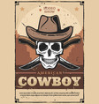 cowboy skull in hat with crossed knives vector image