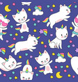 cute cats unicorn seamless pattern for kids vector image vector image