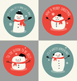 Cute snowman holiday greeting card set vector image