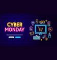 cyber monday neon banner design vector image