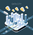 data city isometric composition vector image vector image