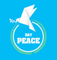 day peace origami dove birds olive branch circle f vector image