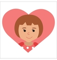 drawing of icon little girl in the heart vector image vector image