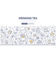 drinking tea doodle concept vector image