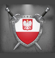 flag of poland with eagle the shield with vector image