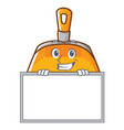 grinning with board dustpan character cartoon vector image vector image