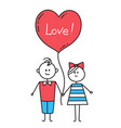 guy and girl holding hands lovers with heartlove vector image vector image