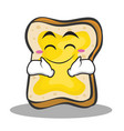 happy face bread character cartoon vector image vector image