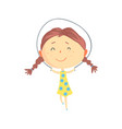 happy little girl jumping rope kids outdoor vector image vector image