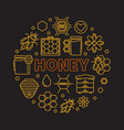 honey round outline on dark vector image vector image