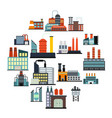 industrial building factory flat icons vector image